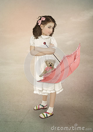 Free Girl And Umbrella Royalty Free Stock Image - 61568726