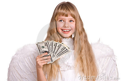 Girl in angel costume with dollar money.