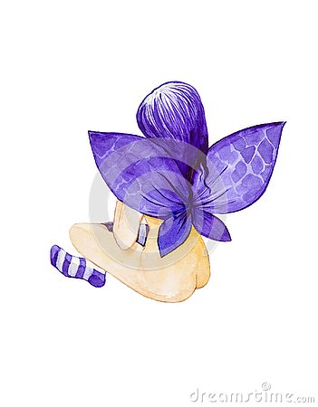 Girl angel with purple wings and hair sitting with his back to the striped socks. Watercolor illustration isolated on white Cartoon Illustration