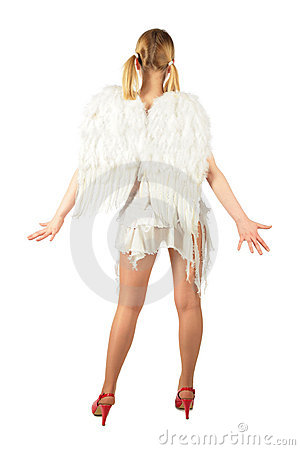 Girl in angel s costume from back full body