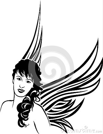 Girl angel tattoo stencil