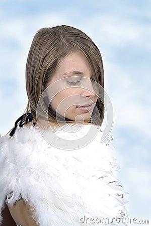 Girl in angel wings