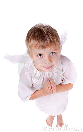 Girl with angel wings praying