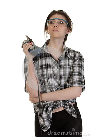 Girl with an angle grinder