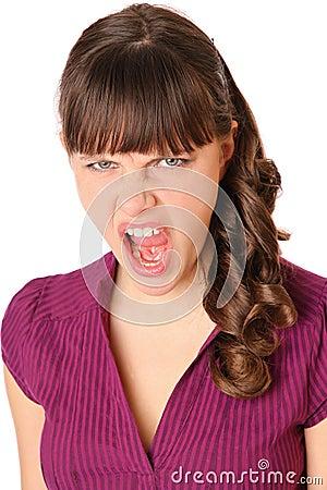 Girl angry and screams