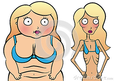Girl with anorexy and overweight girl
