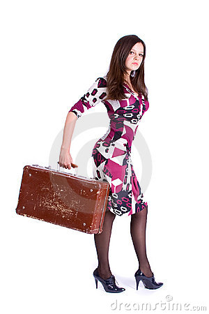 Girl with an antique suitcase