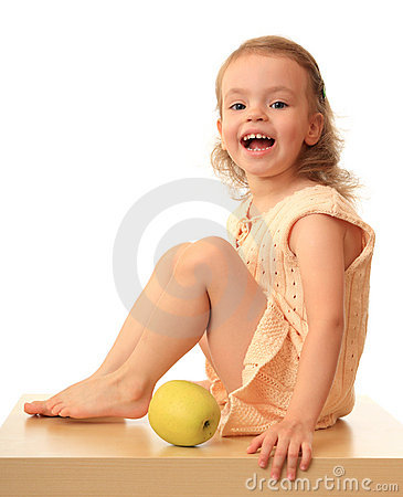 Girl with an apple.