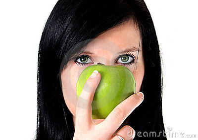 A girl with apple