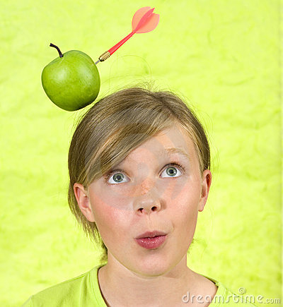 Girl with apple shot from head