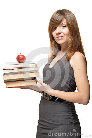 Girl with the apple and a stack of books