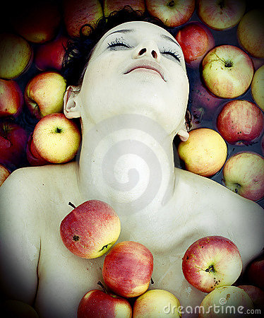 Girl in apples