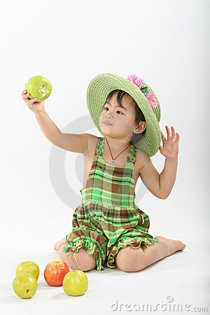 Girl and apples