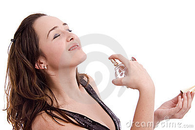 Girl applying an expensive perfume