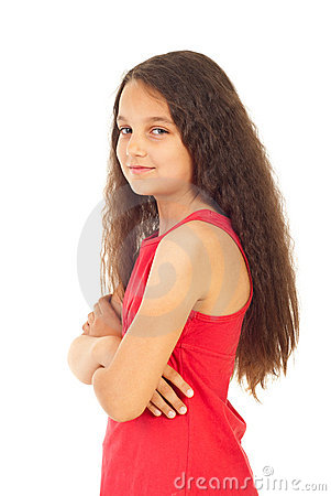 Girl with arms folded in semi profile