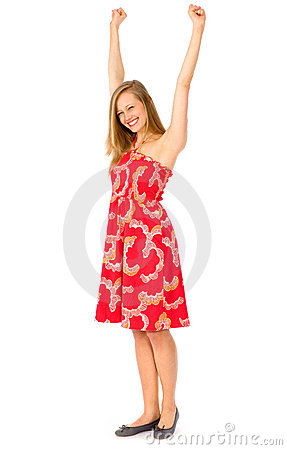 Girl with arms raised
