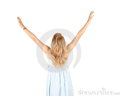 Girl with arms raised, outstretched
