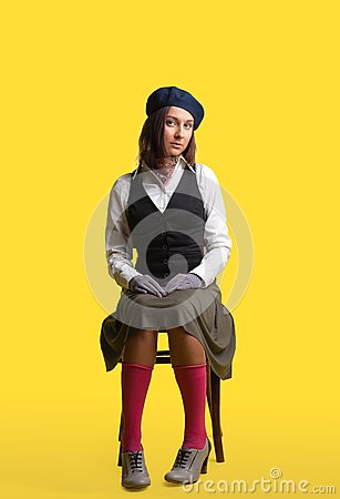 Girl as artist retro style cloth sit on yellow