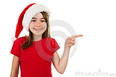 Girl as Santa Claus pointing