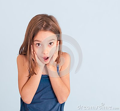 Girl with astonished expression
