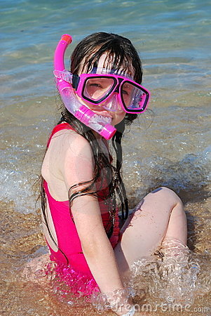 Free Girl At Beach Snorkeling Royalty Free Stock Photography - 2605137