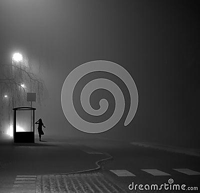 Free Girl At Bus Stop At Night Stock Photo - 62661060