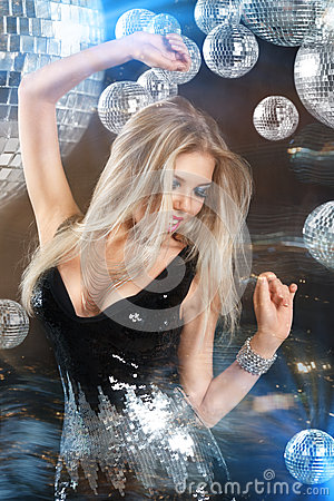 Free Girl At Night Disco Club Royalty Free Stock Images - 27829809