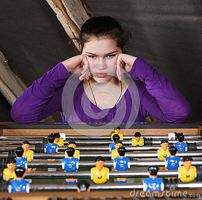 Free Girl At Table Football Stock Images - 42279414