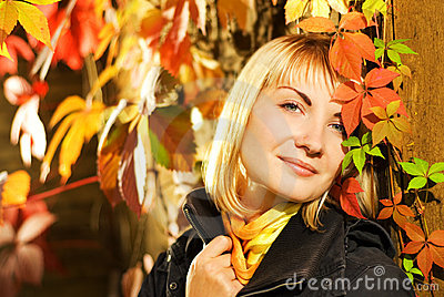 Girl on autumn background
