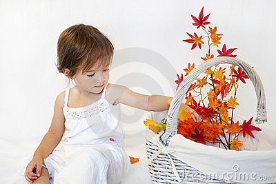 Girl and autumn branch