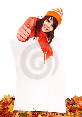 Girl in autumn  sweater holding banner.