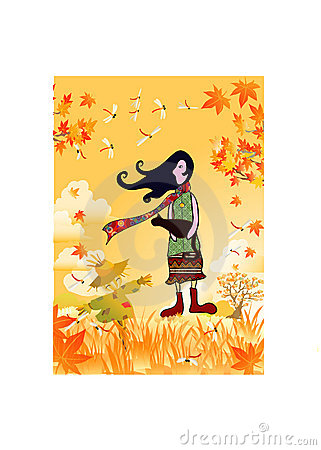 Girl with autumn view background