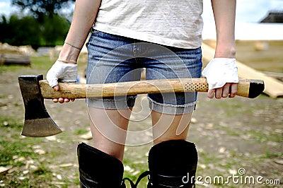 Girl with an axe