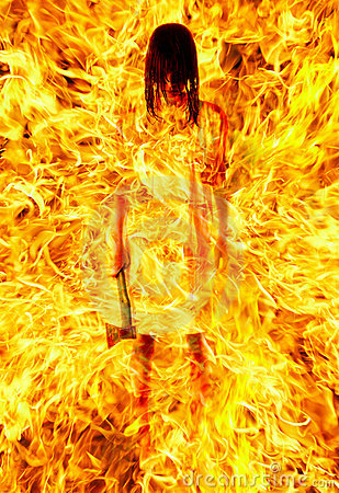 Girl with an axe in a fiery flame.