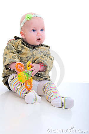 Girl Baby With Orange Toy.