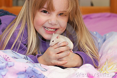 Girl with baby rat