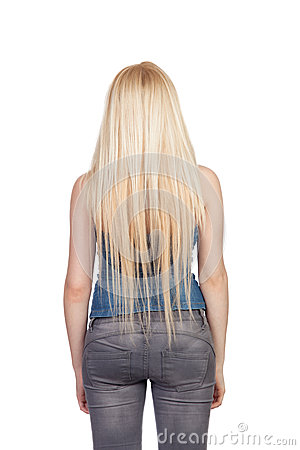 The Girl With The Long Blond Hair Back Is Stock Images - Image ...