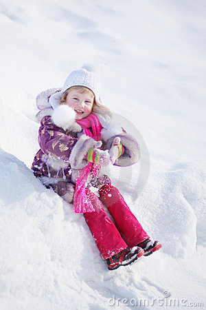 Girl on background snow
