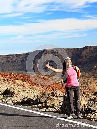 Girl Backpacking / Hitchhiking on Teide, Tenerife