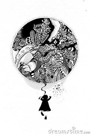Girl with balloon.