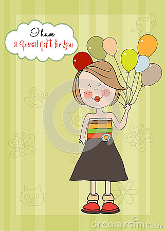 Girl with balloon, birthday greeting card