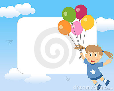 Girl with Balloons Photo Frame