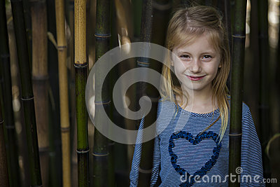 Girl in bamboo thicket