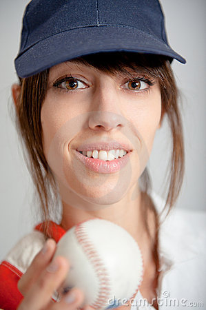 Girl with baseball ball