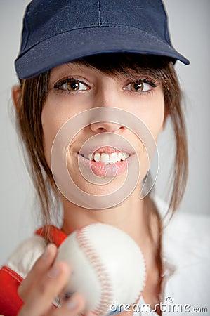 Girl with baseball ball