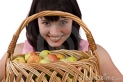 Girl with a basket of apples