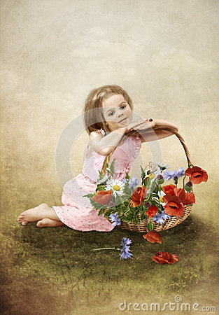 The girl with a basket of flowers