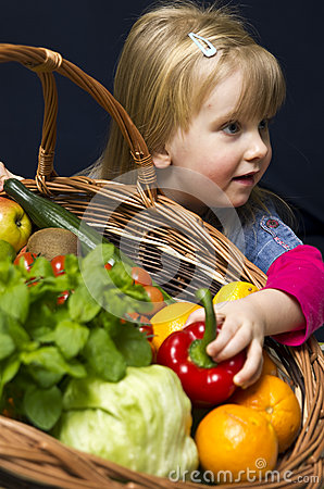 Girl with basket of ripe fruit