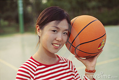 Girl and basketball
