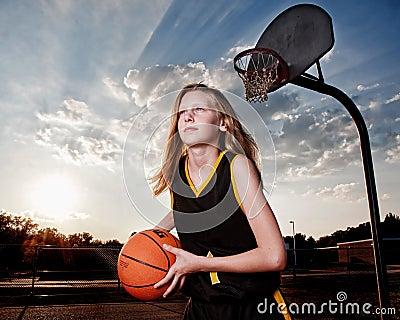 Girl with Basketball and Hoop